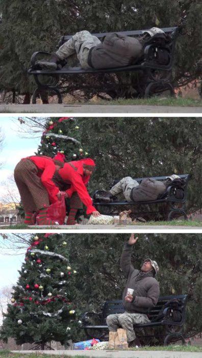 personas dejan regalos donde está dormido un vagabundo