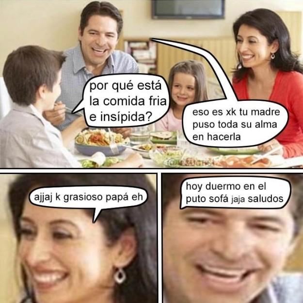 familia comiendo meme discusión