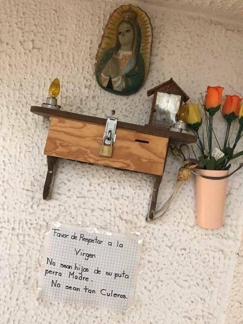 virgen altar nota mensaje