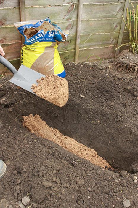 echar arena en la tierra