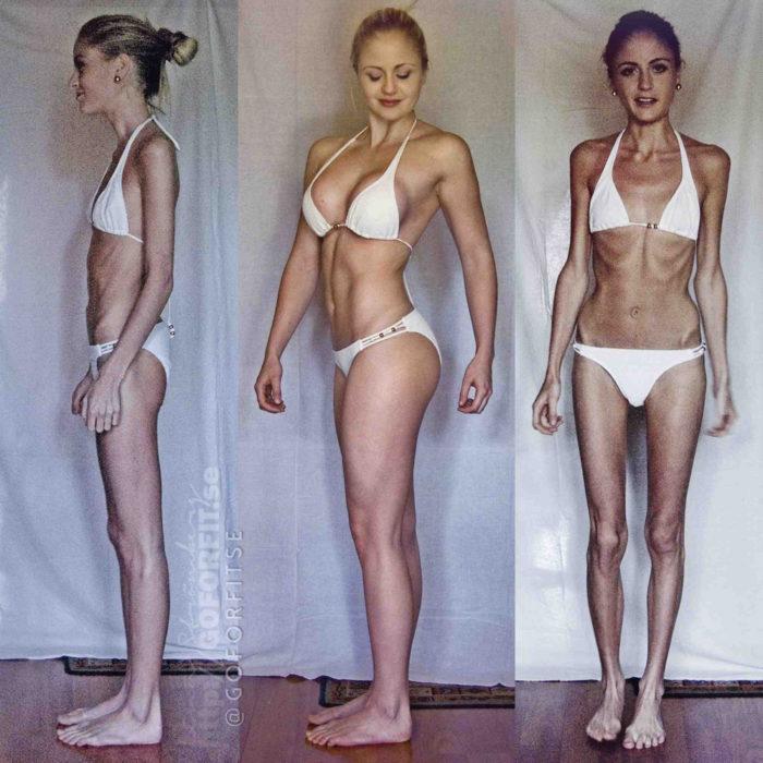 foto chica mismo bikini pero la diferencia está en el peso