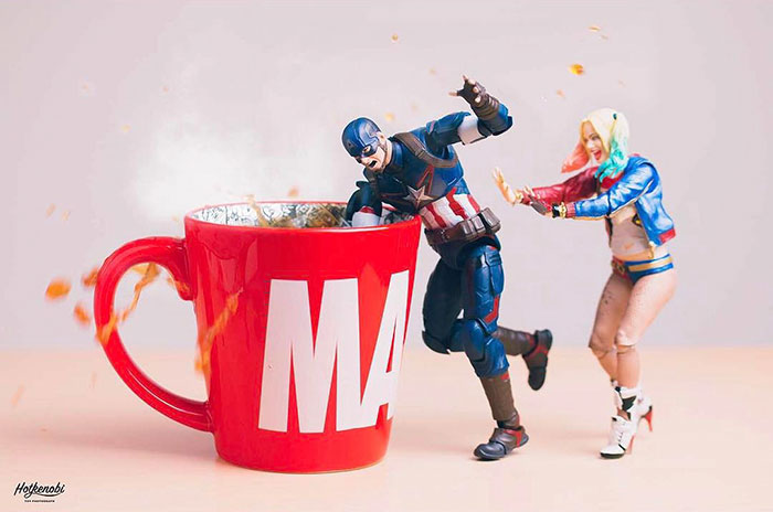 Figuras de acción personajes fotos Hot Kenobi café