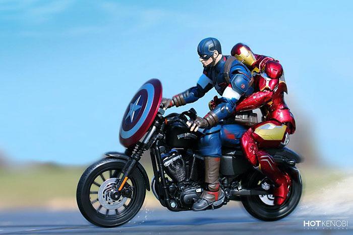 Figuras de acción personajes fotos Hot Kenobi ironman y capitán moto