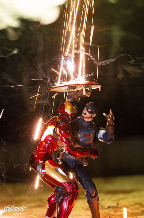 Figuras de acción personajes fotos Hot Kenobi luces escudo capitán américa