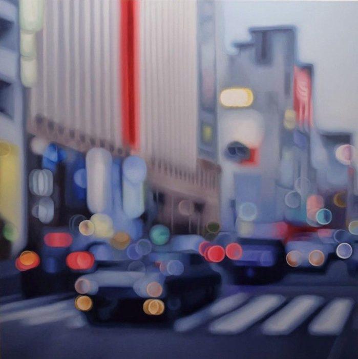 Cómo ve alguien con miopia - autos en la ciudad