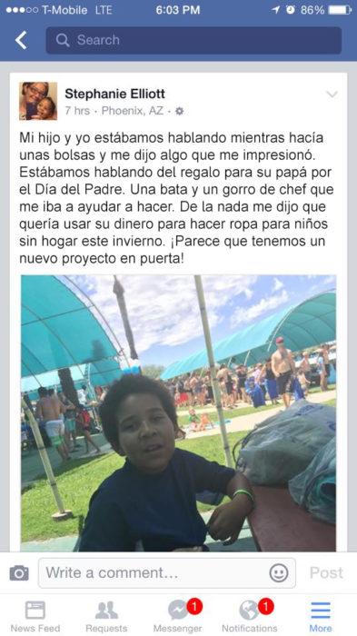 post de facebook niño ropa personas sin hogar