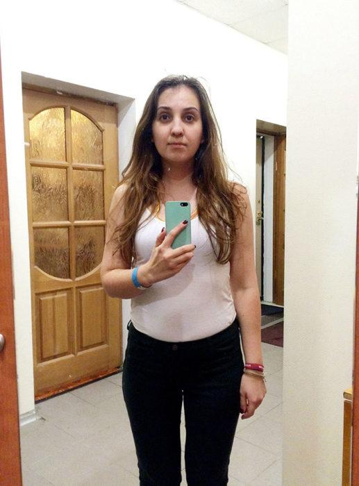 Inna escritora rusa foto antes de salir a las tiendas espejo casa