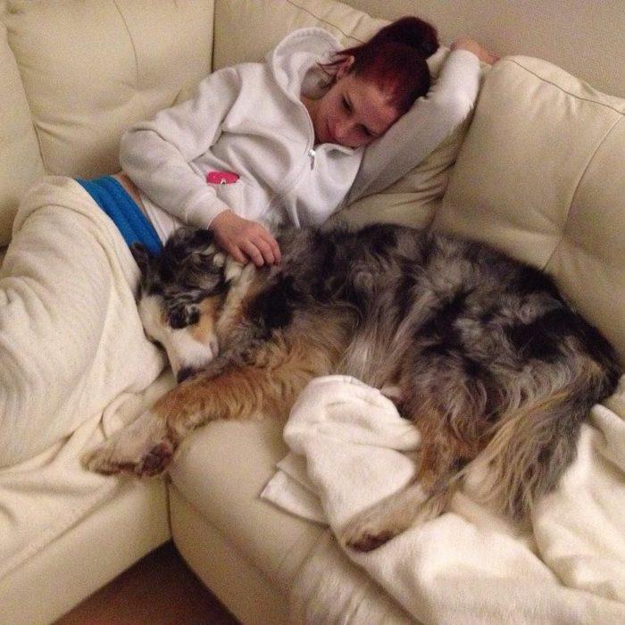 perro acostado en el sillon con su dueña