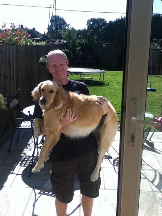 hombre cargando un perro