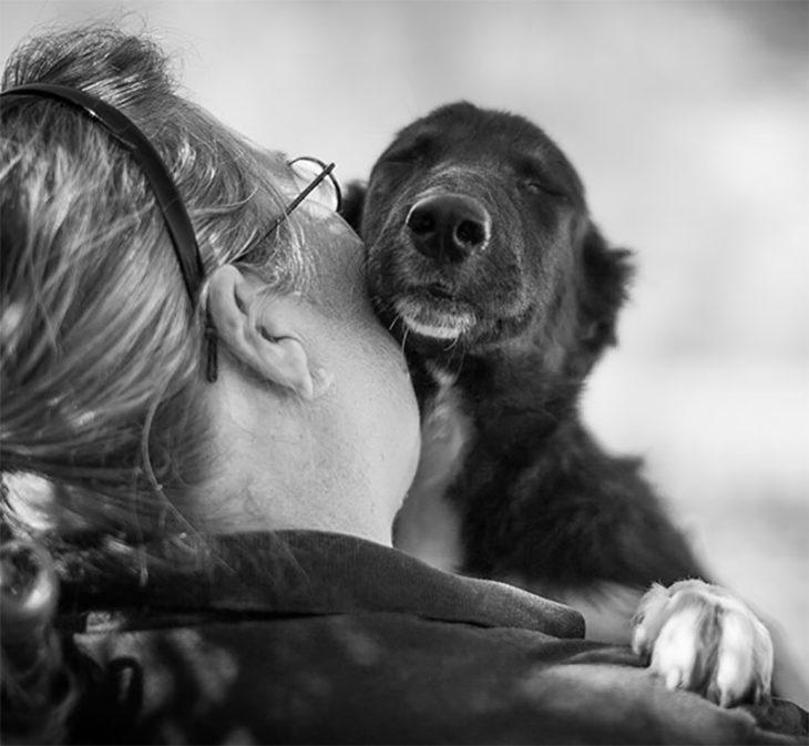 blanco y negro perrito foto abrazo beso