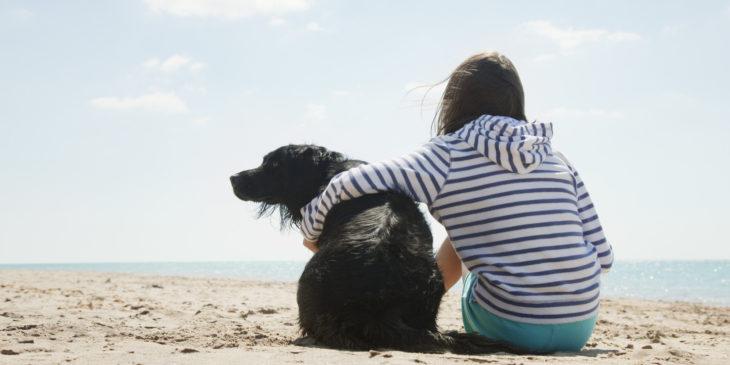 abrazo niña perro playa