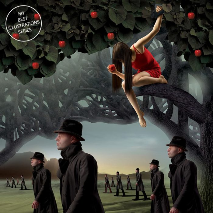 ilustración de muchacha en un árbol y muchos hombres de traje y sombrero apsan debajo