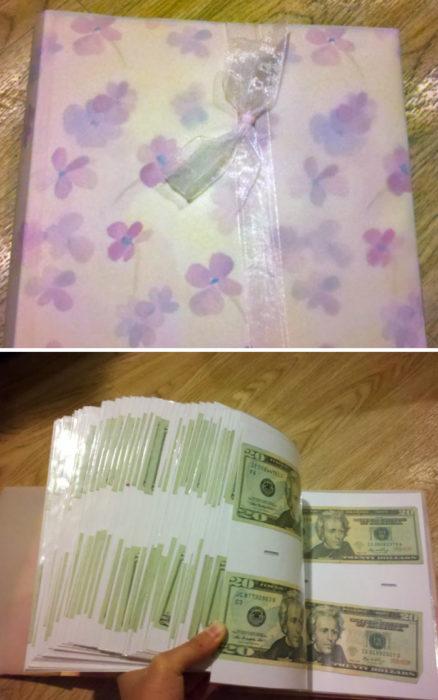 álbum de fotos lleno de dinero