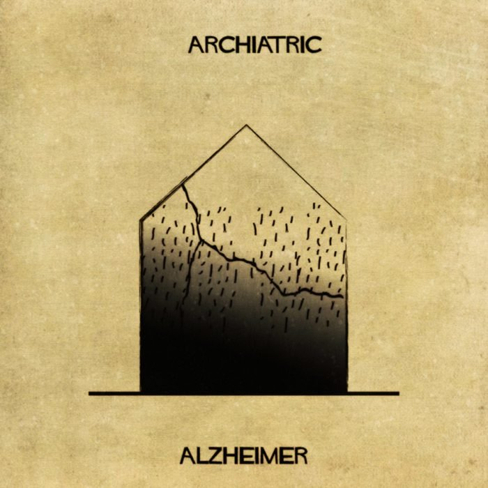alzheimer representado como si fuera una casa