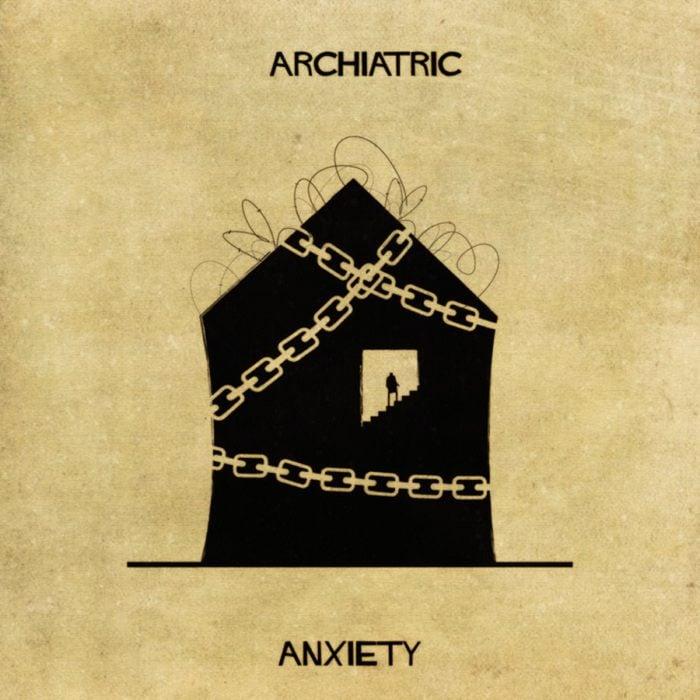 ansiedad representada en forma de casa
