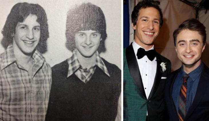 Andy Samberg y Daniel Radcliffe y dos chicos de los 70 que lucen como ellos
