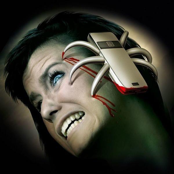 ilustración de celular con garras que se aferra a rostro de una mujer