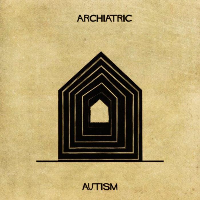 autismo representado en forma de casa