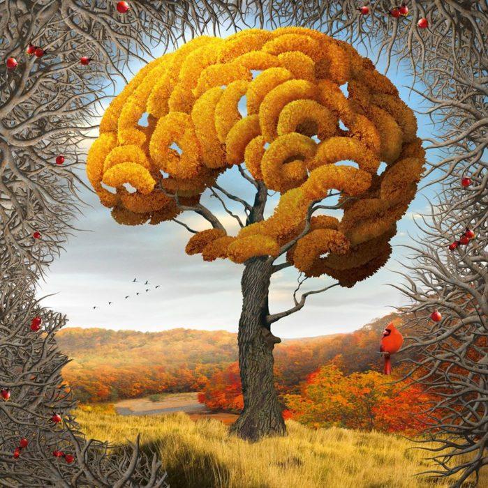 árbol en otoño en forma de cerebro