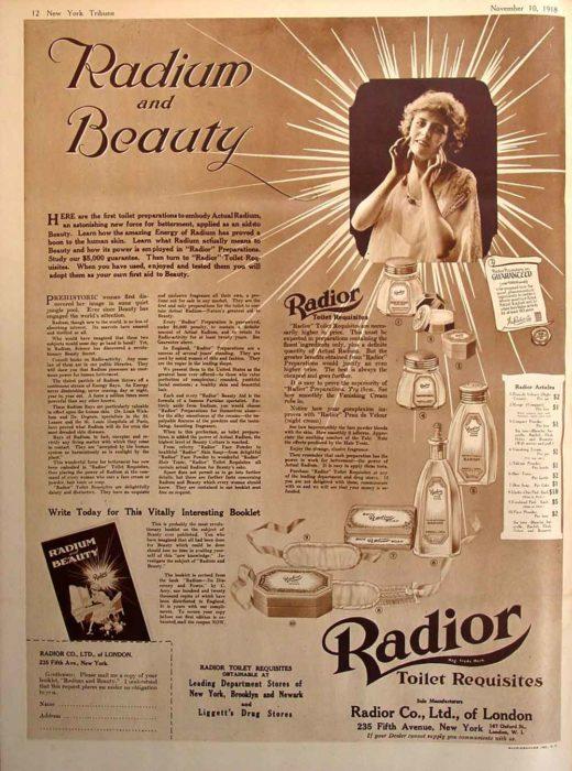 anuncio de crema radioactiva