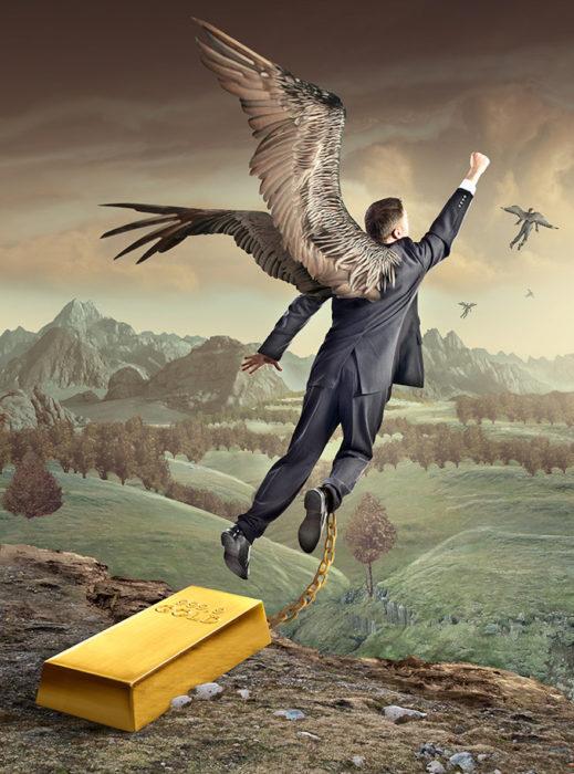 ilustración de hombre con alas atado a un lingote de oro