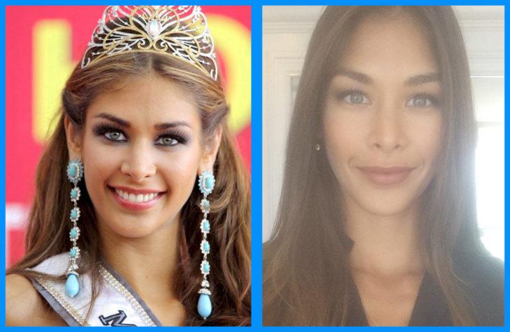 Dayana Mendoza con y sin maquillaje