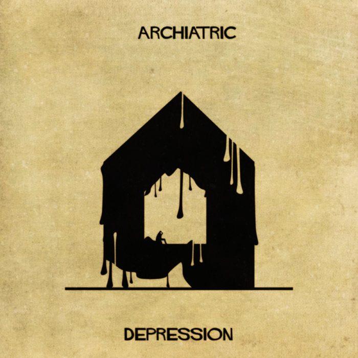depresión representada en forma de casa