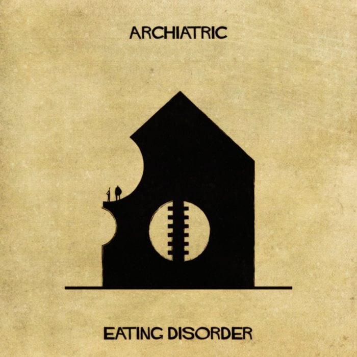 desórdenes alimenticios representados como una casa