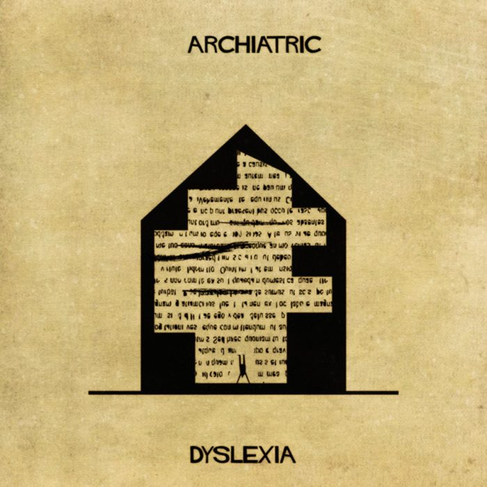 dislexia representada con una casa