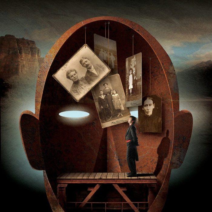 ilustración de fotografías dentro de un cerebro