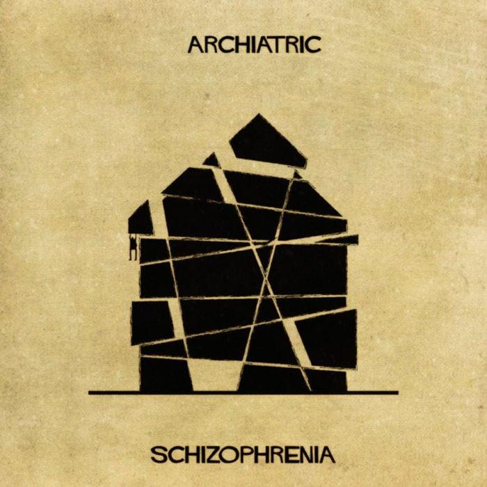esquizofrenia representada con una casa