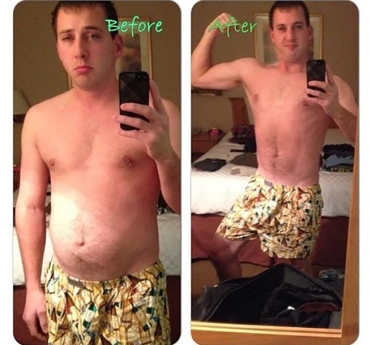 hombre inflando el abdomen y sumiéndolo