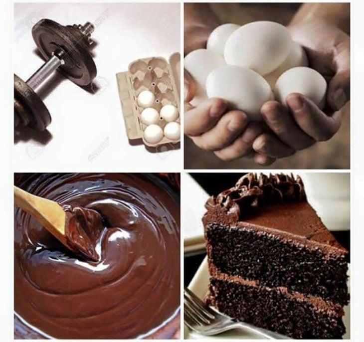 pesas, huevos y pastel