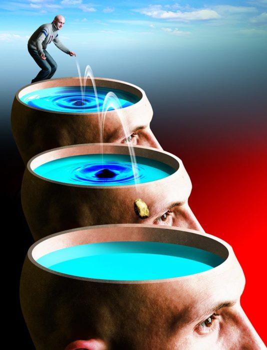 ilustración de un hombre y tres cabezas gigantes cortadas transversalmente llenas de agua