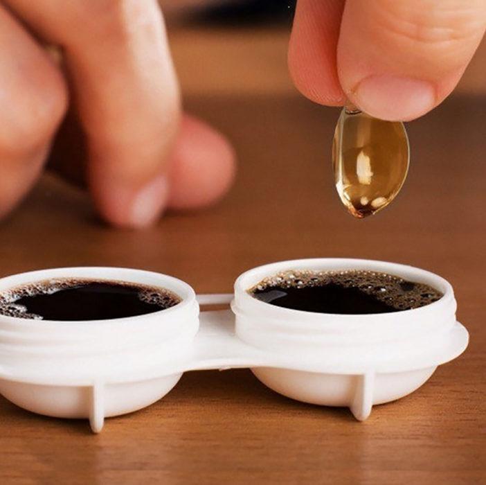 lentes de contacto en café