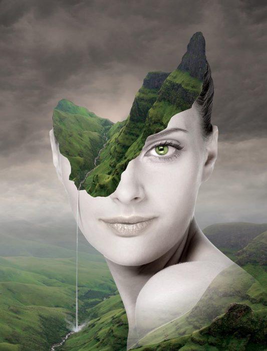 ilustración de mujer con cabeza cortada y dentro hay naturaleza