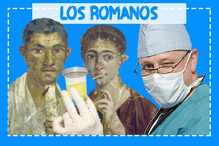 pintura de dos personas romanas, delante un médico con una muestra de orina