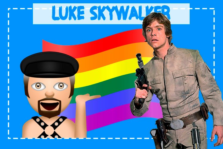 Luke Skywalker con un emoji y la bandera gay