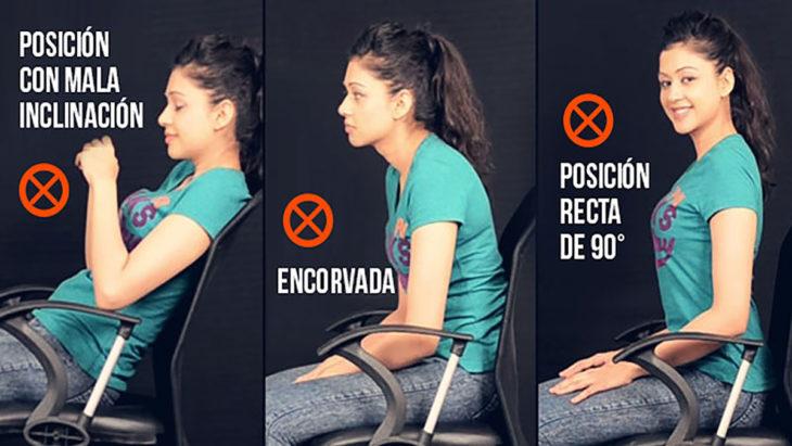 posiciones incorrectas para sentarse