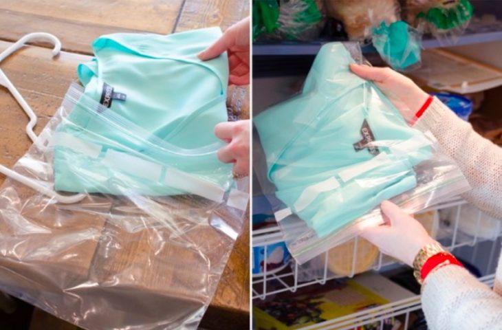 prenda en bolsa de plástico