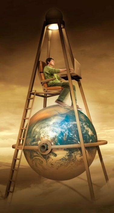 ilustración de un chico en su laptop sobre el mundo