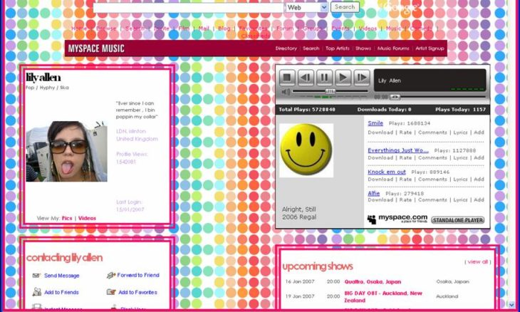interface de myspace