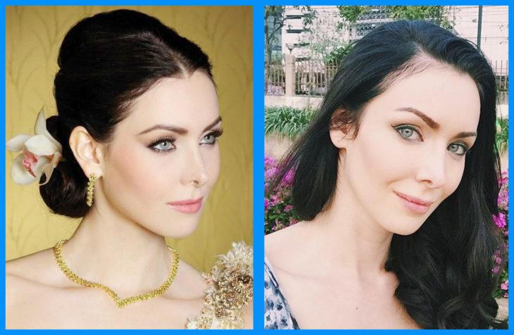 Natalie Glebova con y sin maquillaje
