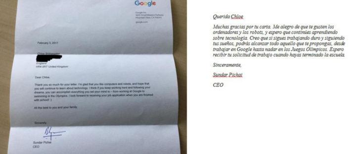 niña carta google respuesta