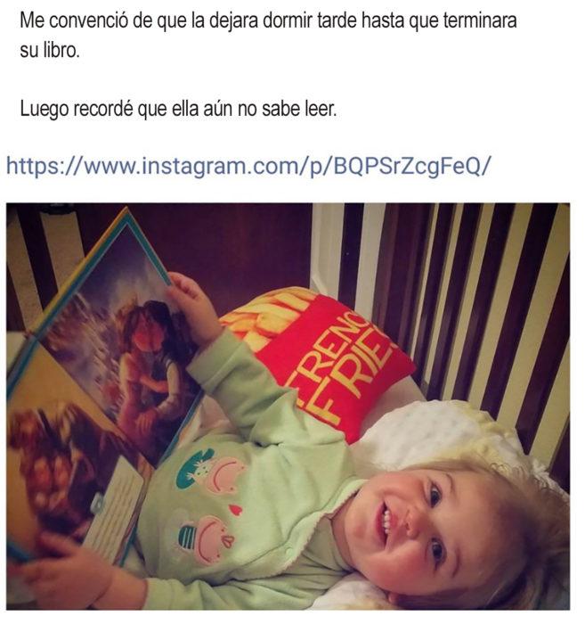 tuit sobre una niña leyendo un libro