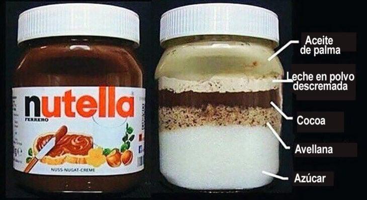 etiqueta real de la nutella