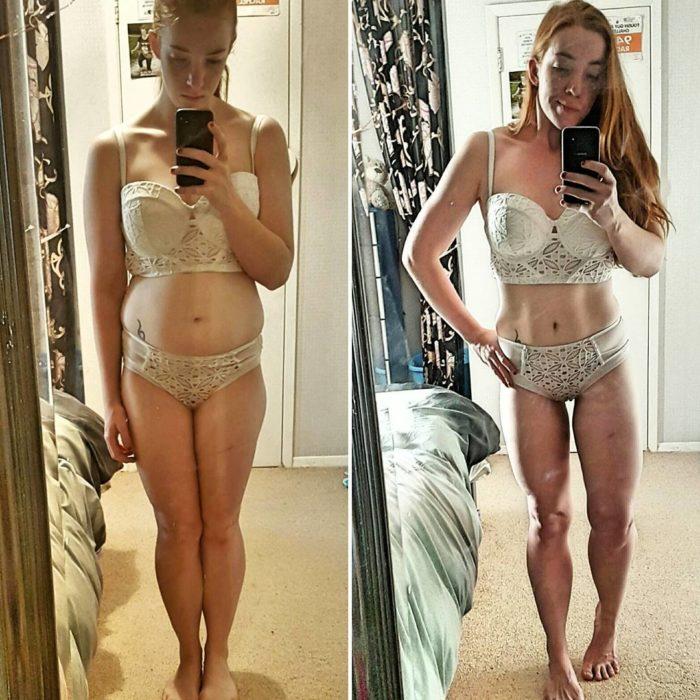 mujer en lencería blanca posa de formas diferentes para verse más delgada o más gorda
