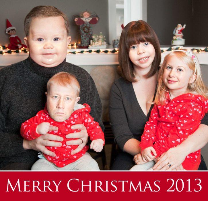 Alt Text retrato de familia con los rostros invertidos