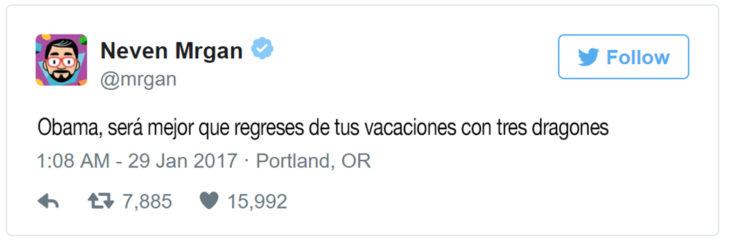 comentario en twitter para que regrese obama