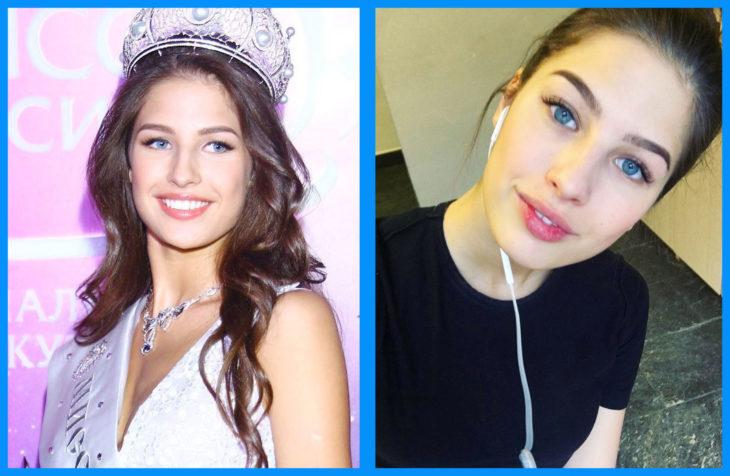 Yana Dobrovolskaya con y sin maquillaje